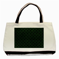 Scales2 Black Marble & Green Leatherscales2 Black Marble & Green Leather Basic Tote Bag