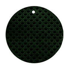 Scales2 Black Marble & Green Leatherscales2 Black Marble & Green Leather Round Ornament (two Sides) by trendistuff