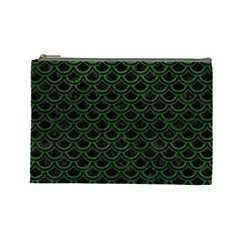 Scales2 Black Marble & Green Leatherscales2 Black Marble & Green Leather Cosmetic Bag (large)  by trendistuff