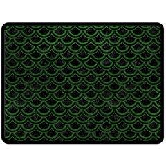 Scales2 Black Marble & Green Leatherscales2 Black Marble & Green Leather Fleece Blanket (large)  by trendistuff
