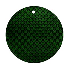 Scales2 Black Marble & Green Leather (r) Round Ornament (two Sides) by trendistuff
