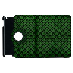 Scales2 Black Marble & Green Leather (r) Apple Ipad 2 Flip 360 Case by trendistuff