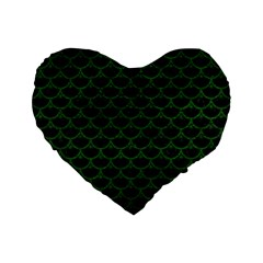 Scales3 Black Marble & Green Leather Standard 16  Premium Flano Heart Shape Cushions by trendistuff
