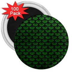 Scales3 Black Marble & Green Leather (r) 3  Magnets (100 Pack) by trendistuff