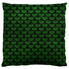 Scales3 Black Marble & Green Leather (r) Large Cushion Case (one Side) by trendistuff