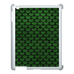 Scales3 Black Marble & Green Leather (r) Apple Ipad 3/4 Case (white) by trendistuff