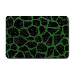 Skin1 Black Marble & Green Leather (r) Small Doormat  by trendistuff