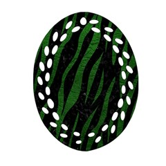 Skin3 Black Marble & Green Leather Oval Filigree Ornament (two Sides) by trendistuff