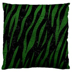 Skin3 Black Marble & Green Leather Large Cushion Case (two Sides)