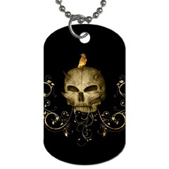 Golden Skull With Crow And Floral Elements Dog Tag (two Sides) by FantasyWorld7