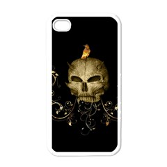 Golden Skull With Crow And Floral Elements Apple Iphone 4 Case (white) by FantasyWorld7
