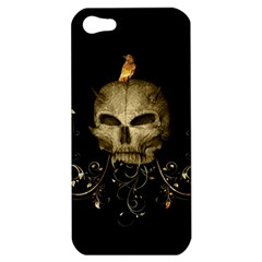 Golden Skull With Crow And Floral Elements Apple Iphone 5 Hardshell Case by FantasyWorld7