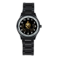 Golden Skull With Crow And Floral Elements Stainless Steel Round Watch by FantasyWorld7