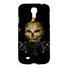 Golden Skull With Crow And Floral Elements Samsung Galaxy S4 I9500/i9505 Hardshell Case by FantasyWorld7