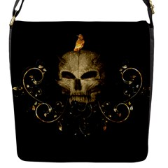 Golden Skull With Crow And Floral Elements Flap Messenger Bag (s) by FantasyWorld7