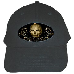 Golden Skull With Crow And Floral Elements Black Cap by FantasyWorld7
