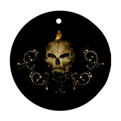 Golden Skull With Crow And Floral Elements Ornament (round) by FantasyWorld7