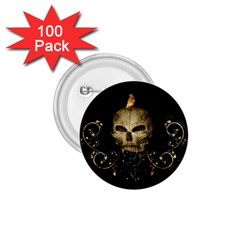 Golden Skull With Crow And Floral Elements 1 75  Buttons (100 Pack)  by FantasyWorld7