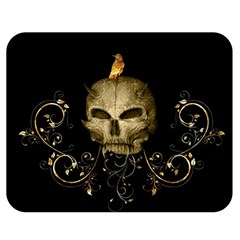 Golden Skull With Crow And Floral Elements Double Sided Flano Blanket (medium)  by FantasyWorld7