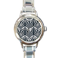 Art Deco, Black,white,graphic Design,vintage,elegant,chic Round Italian Charm Watch by 8fugoso