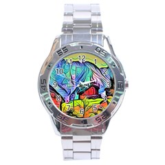 Magic Cube Abstract Art Stainless Steel Analogue Watch by 8fugoso