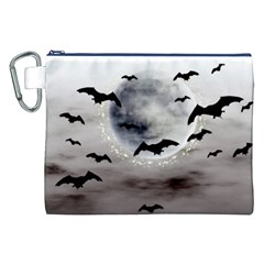 Bats On  The Moon Canvas Cosmetic Bag (xxl) by AllOverIt