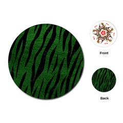 Skin3 Black Marble & Green Leather (r) Playing Cards (round)  by trendistuff