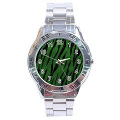 Skin3 Black Marble & Green Leather (r) Stainless Steel Analogue Watch by trendistuff