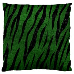 Skin3 Black Marble & Green Leather (r) Large Flano Cushion Case (two Sides) by trendistuff