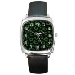 Skin5 Black Marble & Green Leather (r) Square Metal Watch by trendistuff
