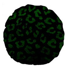 Skin5 Black Marble & Green Leather (r) Large 18  Premium Round Cushions by trendistuff