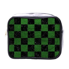 Square1 Black Marble & Green Leather Mini Toiletries Bags by trendistuff