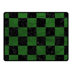 Square1 Black Marble & Green Leather Fleece Blanket (small) by trendistuff