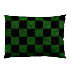 Square1 Black Marble & Green Leather Pillow Case (two Sides) by trendistuff
