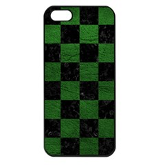Square1 Black Marble & Green Leather Apple Iphone 5 Seamless Case (black) by trendistuff