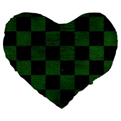 Square1 Black Marble & Green Leather Large 19  Premium Flano Heart Shape Cushions by trendistuff