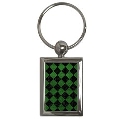 Square2 Black Marble & Green Leather Key Chains (rectangle)  by trendistuff
