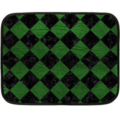 Square2 Black Marble & Green Leather Fleece Blanket (mini) by trendistuff