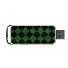Square2 Black Marble & Green Leather Portable Usb Flash (two Sides) by trendistuff