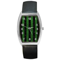 Stripes1 Black Marble & Green Leather Barrel Style Metal Watch by trendistuff