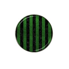Stripes1 Black Marble & Green Leather Hat Clip Ball Marker (4 Pack)