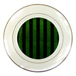 STRIPES1 BLACK MARBLE & GREEN LEATHER Porcelain Plates Front