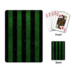 Stripes1 Black Marble & Green Leather Playing Card by trendistuff