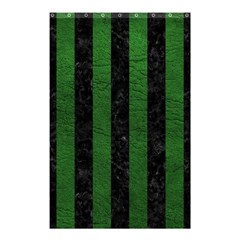 Stripes1 Black Marble & Green Leather Shower Curtain 48  X 72  (small)  by trendistuff