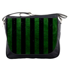 Stripes1 Black Marble & Green Leather Messenger Bags by trendistuff
