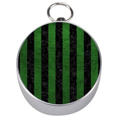 Stripes1 Black Marble & Green Leather Silver Compasses by trendistuff