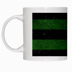 Stripes2 Black Marble & Green Leather White Mugs by trendistuff
