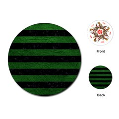 Stripes2 Black Marble & Green Leather Playing Cards (round)  by trendistuff