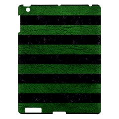 Stripes2 Black Marble & Green Leather Apple Ipad 3/4 Hardshell Case by trendistuff
