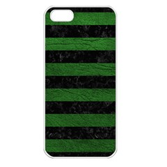 Stripes2 Black Marble & Green Leather Apple Iphone 5 Seamless Case (white) by trendistuff